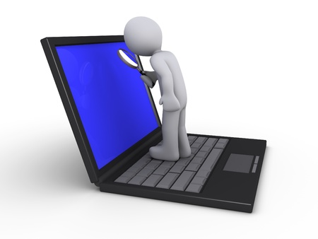 3d person with magnifier standing on a laptop Stock Photo - 14520079