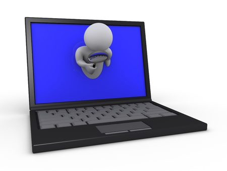3d person holding a magnifier through a screen of a laptop Stock Photo - 14520289