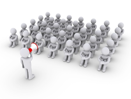 3d person with megaphone is talking to others sitting down photo