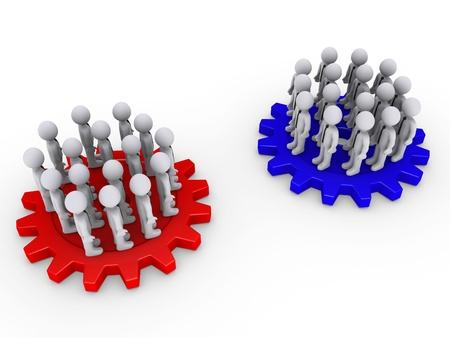 opposing: Many 3d people as two teams on colored cogwheels