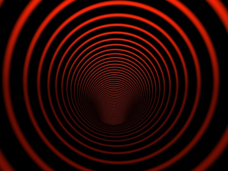 Inside black and red colored cylinder photo