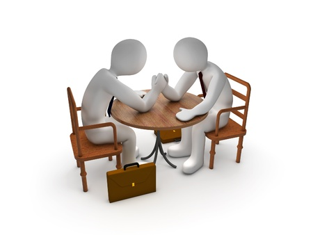 arms on chair: Arm Wrestling between two 3d men Stock Photo