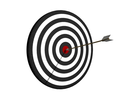 first sight: Dartboard with arrow on center Stock Photo
