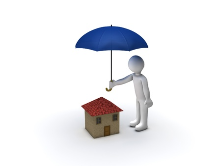 3d Person Protecting House with Umbrella photo