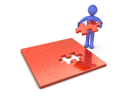 conclusion: 3d person making a puzzle Stock Photo
