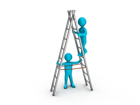 Person climbing a ladder and another keeping it steady photo