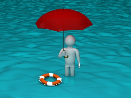 need: 3d person in flooded area Stock Photo