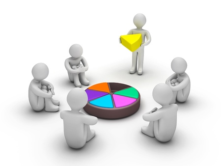 3d people waiting for completion of Trivial Pursuit game Stock Photo