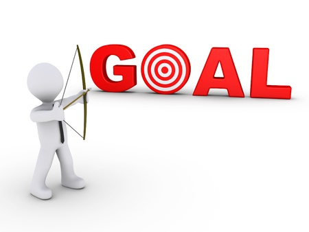 3d businessman as an archer is aiming at a red goal target photo