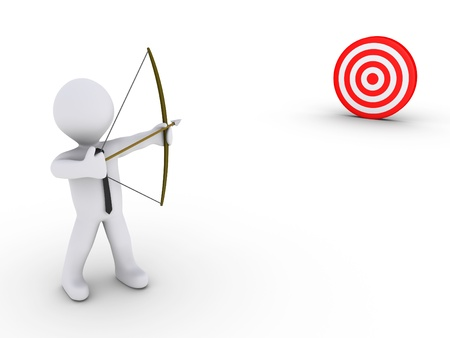 aim: 3d businessman as an archer is aiming at a red target