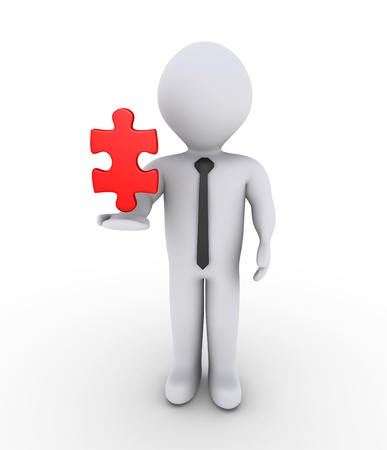 3d businessman is holding on air a red puzzle piece photo