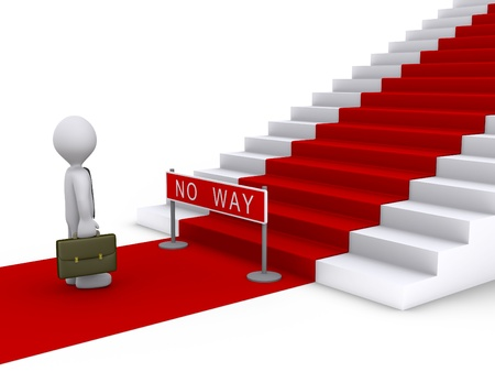 entrance is forbidden: 3d businessman is in front of stairs with red carpet and a no way sign