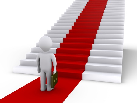 white carpet: 3d businessman is in front of stairs with red carpet
