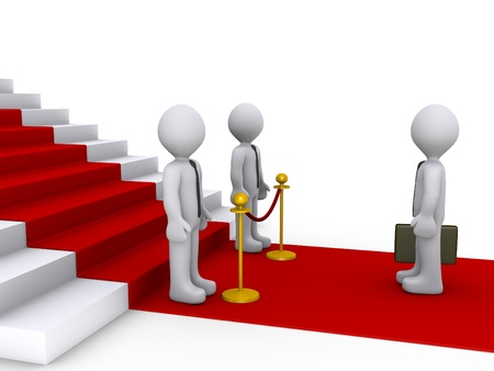 qualify: 3d businessman standing in front of stairs and two others are blocking his way Stock Photo