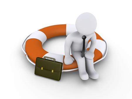 3d businessman is sitting on round lifebuoy