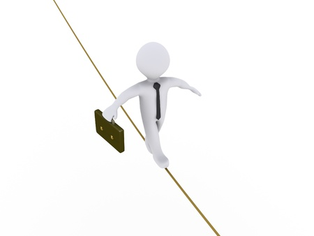 dangerous work: 3d businessman is walking on a tightrope