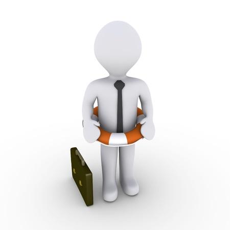lifebuoy: 3d businessman with lifebuoy around his waist Stock Photo