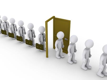 3 d のビジネスマンのドアを通って歩いているし、失業者になります。