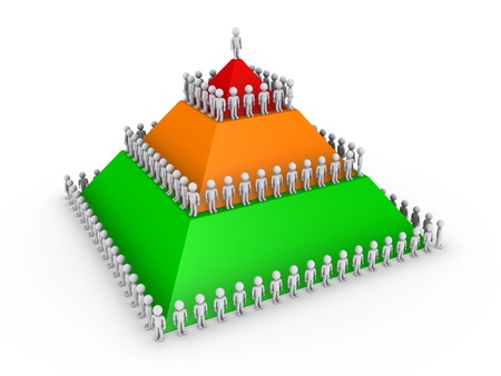 Leadership concept with 3d colored pyramid and many people photo
