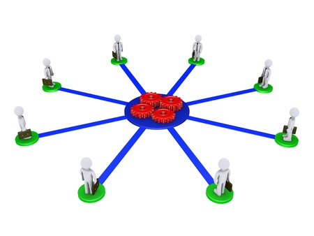 Eight 3d businessmen on pedestals are connected to four red cogs photo