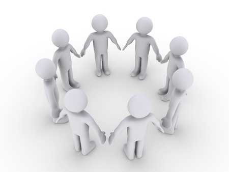 3d circle: Eight 3d people in a circle Stock Photo