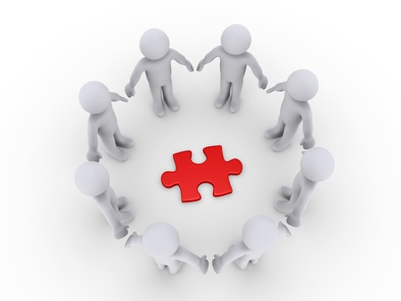 3d circle: 3d people in a circle around a red puzzle piece