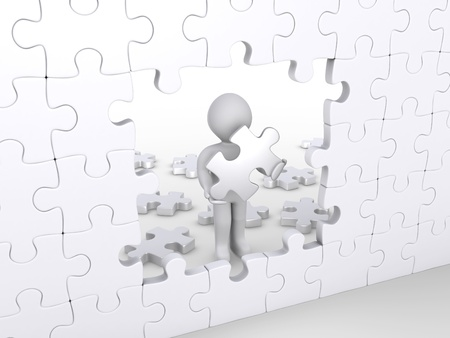 gap: 3d person holding puzzle piece about to complete vertical white puzzle