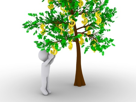 reaching: 3d person is cutting dollar sign from tree of dollars Stock Photo