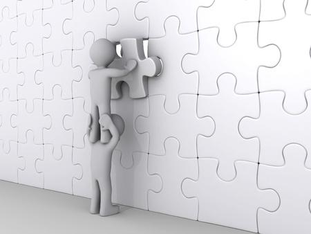 3d persoon op de top van een ander zet laatste stukje van de puzzel Stockfoto