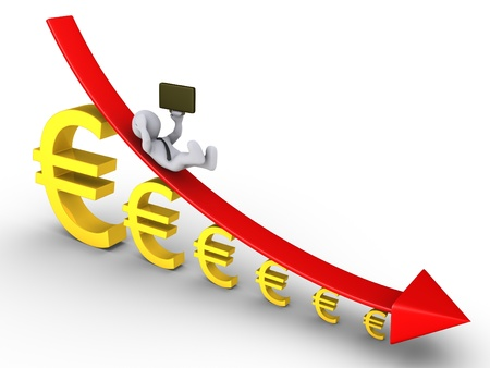 descending: 3d businessman is falling from descending graph and euro signs getting smaller Stock Photo