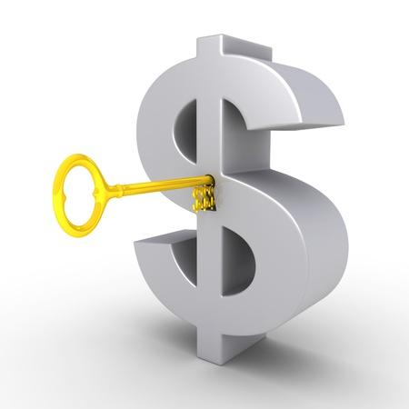 financial security: Golden dollar-key in the keyhole of a big dollar symbol