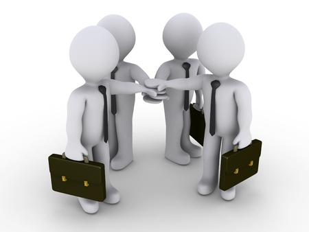oath: Four 3d businessmen are joining hands