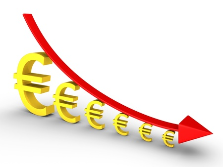 descending: 3d graph falling and euro signs are getting smaller Stock Photo