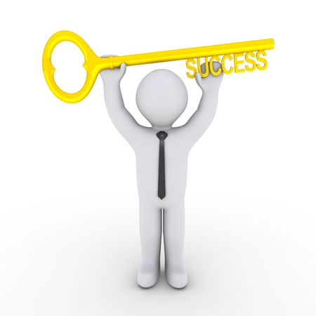 Happy 3d businessman is holding a golden key of success photo