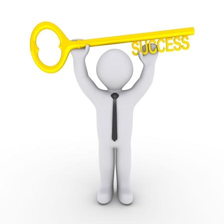 aide � la personne: Heureux homme d'affaires 3d tient une cl� d'or de la r�ussite