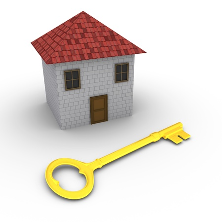 3d house with golden key in front of it photo