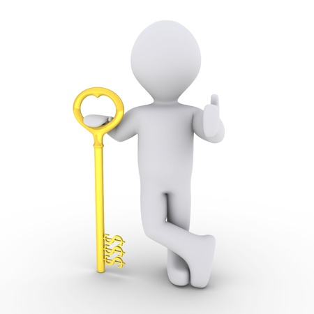 thumb keys: 3d person is leaning on a golden dollar-key