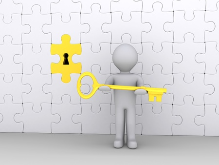 3d person holding a golden key in front of puzzle wall