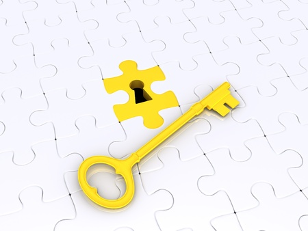 3d golden key on white puzzle pieces with keyhole photo
