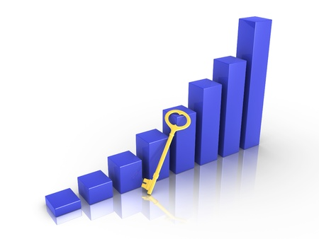 gain access: Blue 3d graph rising with golden key