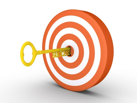 expertise concept: 3d target with key of success in the keyhole