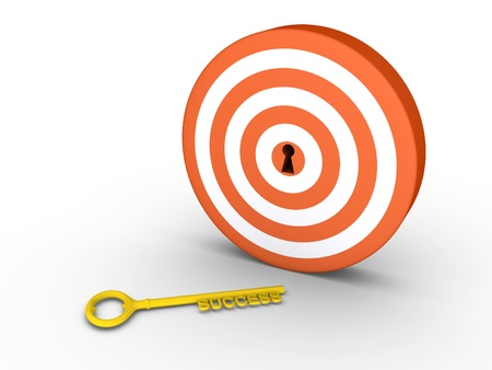 gold keyhole: 3d target with keyhole and a golden success-key on the ground Stock Photo