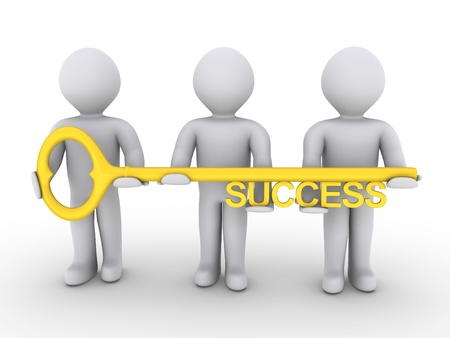team victory: Three 3d people are holding a golden key of success Stock Photo