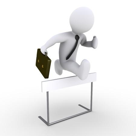 obstaculo: 3d hombre de negocios está saltando sobre un obstáculo de carrera