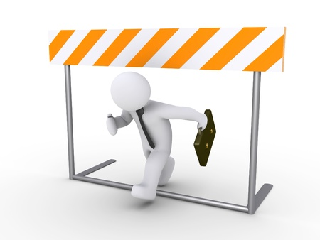obstacle: 3d businessman is running below obstacle
