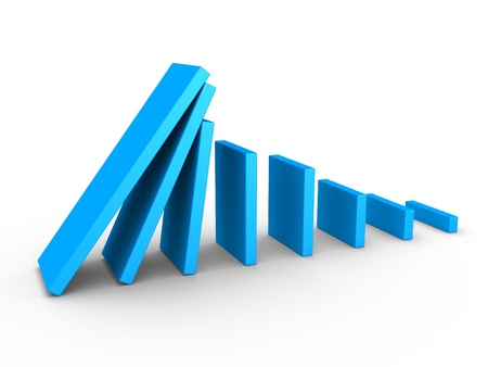 domino effect: 3d blue graph descending and domino effect