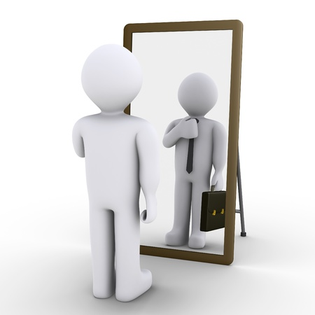 reflection in mirror: 3d person looking at mirror and sees himself as businessman