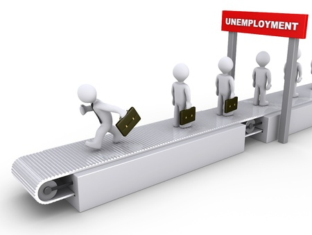 3d businessman is running on conveyor to avoid unemployment