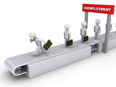 cinta transportadora: 3d hombre de negocios se está ejecutando en el transportador para evitar el desempleo Foto de archivo