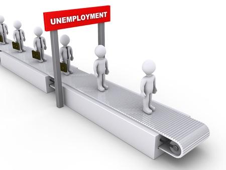 3d businessmen on conveyor pass below unemployment sign